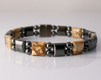 Magnetic Hematite Bracelet with Picture Jasper, Arthritis Therapy Bracelet for Men and Women