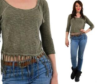 Fringed shirt green faded slouchy t-shirt crop top Vintage 1990s Grunge Medium
