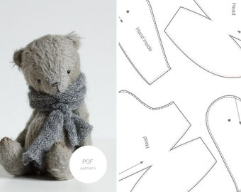 PDF Sewing Pattern & Tutorial Artist Teddy Bear 6 Inches Stuffed Animal Instant Download PDF Sewing Pattern For Women