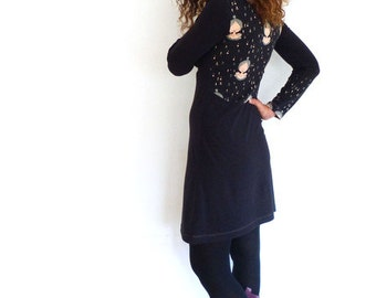 Dress form A black, patterned cotton fleece + organic Jersey