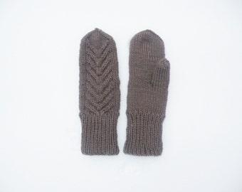 Wool mittens. Knit mittens. Chocolate knit mittens. Natural hand knit accessories. Knit wool gloves. Knitted brown mittens. Wool gloves