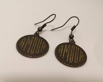 Vintage French Amour Bronze Dangle Earrings Inspired 1920s