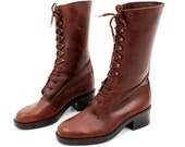 RESERVED Vintage Thompson  Boots / Brown Leather Boots / Lace Up Boots / Woman Boots / Boots  Size 39 / Victorian Boots / Leather Boots