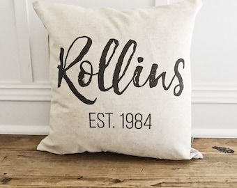 Custom Name & Date Pillow Cover
