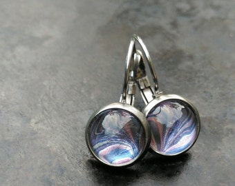 Cute small earrings ~ iridescent earrings ~ everyday earrings ~ nail polish jewelry ~ cabochon earrings ~ drop earrings ~ delicate earrings