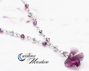 Crystal necklace, necklace, Swarovski crystal, Swarovski, Crystal, butterfly, purple butterfly, purple, mauve, stainless steel