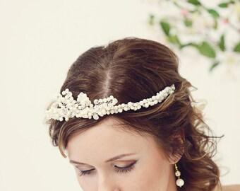 Wedding tiara, Bridal tiara, Bridal crown, Wedding crown, Bridal headpiece, Wedding headpiece, Wedding headband, Pearl tiara, Pearl crown