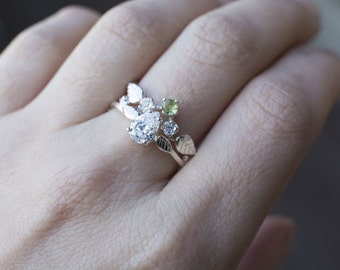 Twig Ring with Pear Tear Drop White Topaz, Leaves - Chevron Halo Alternative Bridal Set Green Peridot Elvish Natural Woodland Wedding Band
