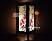 Asian Oriental Japan Carp Koi Fish Lucky Charm Zen Art Bedside Floor Table Lamp Desk Paper Light Shades Gift Living Bedroom Home Decor