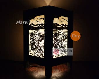Asian Oriental Jungle Thai Elephant Zen Art Bedside Floor Table Lamp Desk Paper Light Shades Gift Living Bedroom Furniture Home Decor