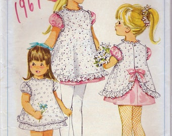 Vintage 1967 Simplicity 7405 Child's Dress & Pinafore Sewing Pattern Size 1 Breast 20""