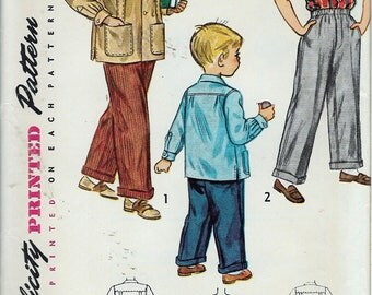 """Vintage 1949  Simplicity 2969 Boys' Slacks & Shirt Sewing Pattern Size 8 Chest 26"""" UNCUT"""