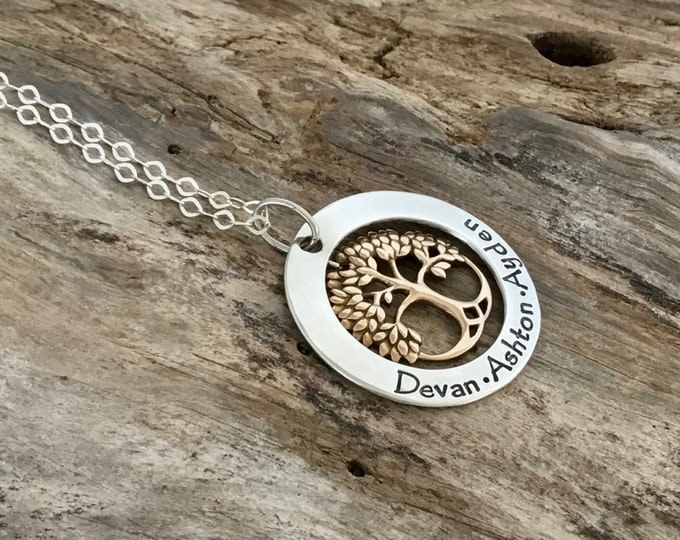 Featured listing image: Family Tree Necklace | Personalized Mother's Necklace | Gold Tree Necklace| Grand mom's Necklace| Tree of Life| Gift for Mom|Sterling Silver