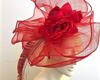 Kentucky Derby Red Fascinator Red Flower Fascinator Hat Red