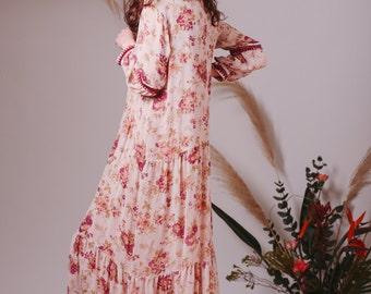 Bohemian Indian Silk dress,Floral dress,Flowy wedding dress,Boho wedding dress,Hippie wedding dress,Bohemian wedding dress,Boho clothing