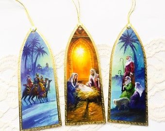Religious Christmas gift tags - Manger - 3 Kings - Shephards - baby Jesus - Angel tree tags - large gift tags - Set of 12 - upcycled tags