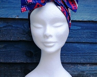 Double-sided Headtie in Blue and Red Retso Print by Afrocentric805, African Fashion, African Headwrap, Hair Accessories