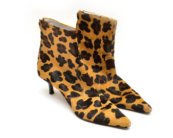 80s Cheetah Leopard Print Pointed Ankle Boots Cow Hide Womens 9.5 M