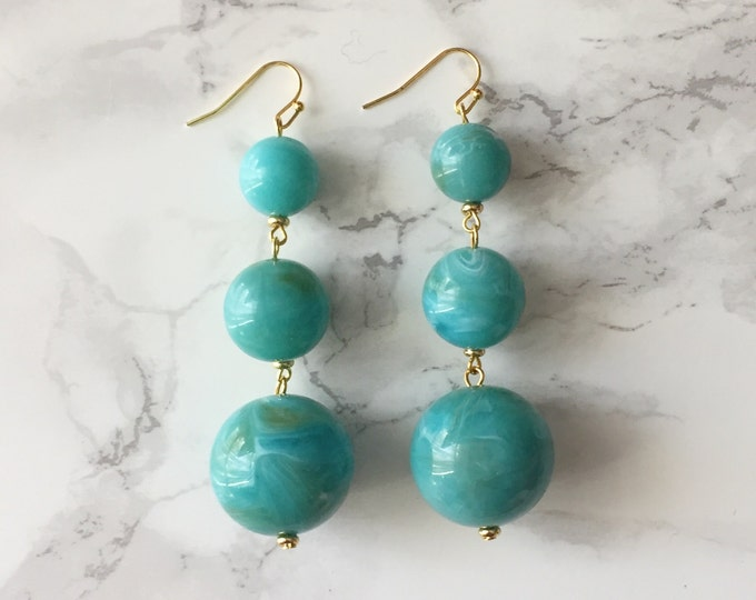 Orbital Drop Earrings - Marbled Turquoise