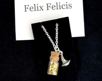 HARRY POTTER NECKLACE, Felix Felicis themed, silver plated chain with a message card and an organza bag