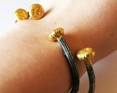Daisy Cuff - Cast Daisy Blossoms and Stems in Sterling Silver and 24k Gold Handmade