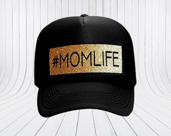 Momlife Trucker Hat - Adult Trucker Hat - #momlife - Hashtag - Sparkle Black and Gold - Gold Glitter - Mom Gift - Mother's Day Gift Idea