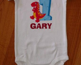 Dinosaur Theme 1st Birthday Boy Onesie or T-Shirt - Personalized
