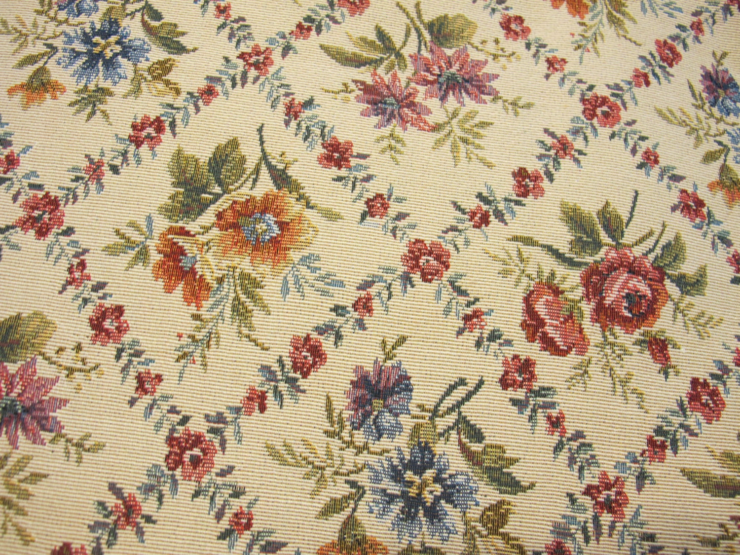 Vintage Heavy Upholstery Style Fabric Cottage Chic