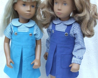 "Corduroy Pinafore and Gingham Blouse outfit for 16/17"" Sasha doll - Darker shades"
