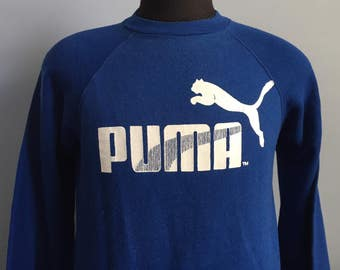 80s Vintage Puma shoes athletic sports Sweatshirt - LARGE