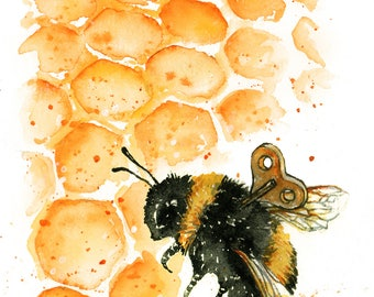 Clockwork Bee II: Fine Art Watercolour Clockwork Bee Print
