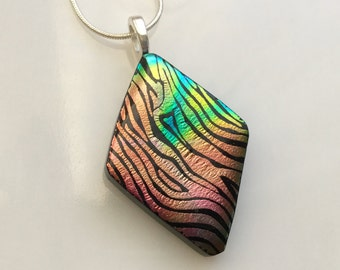 Dichroic Glass Pendant, Fused Glass Jewelry, Coral Aqua Zebra Stripe Dichroic Necklace