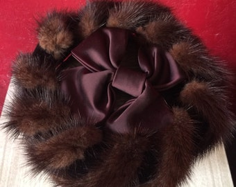 Mink Fur, Satin & Velvet Vintage Pillbox Hat