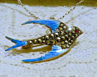 Vintage Sterling Silver, Marcasite, and Guilloche Enamel Bluebird or Swallow with Ruby Eye Brooch or Pendant