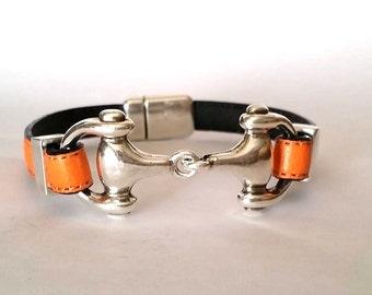 Snaflle bit  bracelet, leather Bracelet, bit bracelet , Leather bracelet for men, Horse bracelet, Mens bracelet, Horse jewelry