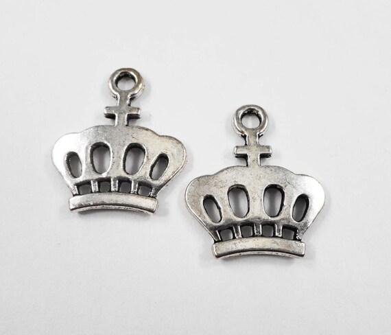 Silver Crown Pendants 24x20mm Antique Silver Crown Charms, Metal Charms, King Crown Charms, Cross Crown Charms, Queen Charms, 10pcs