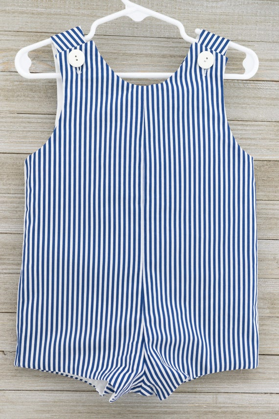 Custom made Denim Blue Stripe Romper. Perfect for Beach Photos, Easter Sunday or as an everyday outfit this Spring/Summer!