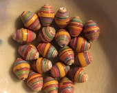 """Wooden Toys Hand Rolled Paper Oval Beads 1/2"""": Set of 20"""