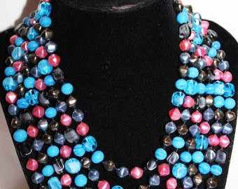 SALE! Vintage Couture Multi Strand Alluring Art Glass Lucite Blue Grey Pink Exciting Necklace NG1