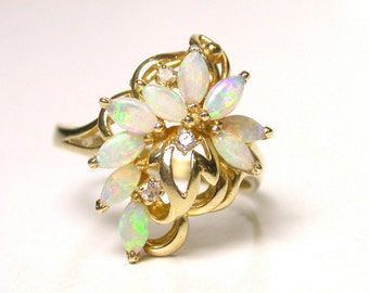 14k Yellow Gold Natural Opal and Diamond Ring - Size 8 - Floral Motif - Marquise Opal - Weight 3.6 Grams - Cluster Ring # 1404