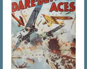 Aviation Art - Dare-Devil Aces - Pulp Magazine Cover Wall Art for the Man Cave