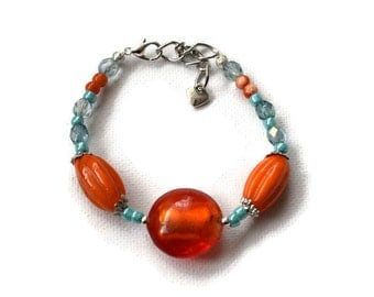 Orange Bracelet - Orange and Aqua - Glass Bead Bracelet - Colourful Bracelet - Orange Jewellery - Festival Bracelet - Summer Bracelet