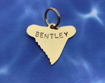 Shark Tooth Pet ID Tag- Handmade - Copper Nickel or Brass - Personalize - Unique Shark Tooth Surfer Dog Tag
