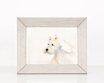 dog art print, watercolor art, Westie watercolor print from original watercolor painting, animal wall art,  white dog, affordable gift