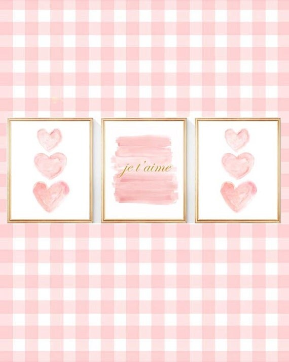 Je t'aime Nursery Prints in Blush and Gold, Set of 3-8x10