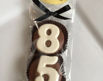 Chocolate Covered Oreo Cookie Candy Party Favors Number Eighty-Five 85th Anniversary Birthday #85 Decorations 80s Dessert Table Decor
