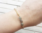 REDUCED Labradorite And Tube Bracelet | Raw Crystal Bracelets | Dainty Crystal Bracelet | Boho Bracelet | Bridesmaid Gifts | Labradorite