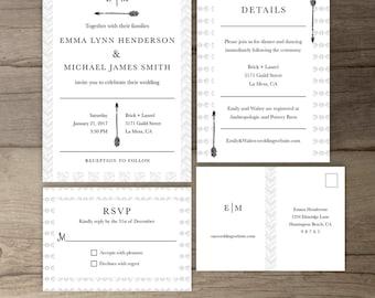 Modern Tribal Wedding Invitations • Simple Timeless Invite Suite • Classic • DIY Printable