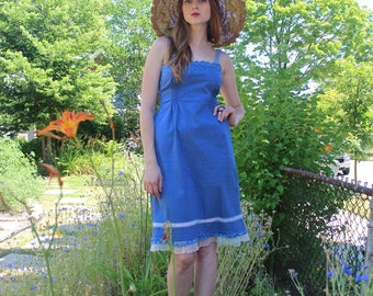 Vintage Blue SUNDRESS Eyelet Lace MINI DRESS Empire Waist Woman's Small Size 70s Retro Spring Summer Cotton Frock scallop strappy Sun Dress
