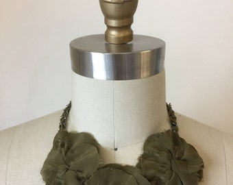 Olive Silk Flower Necklace
